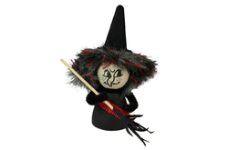 Witch with hat in bag, 13cm