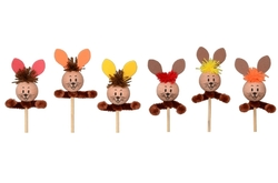 Hase am Stick 6cm, 3 pcs. in bag