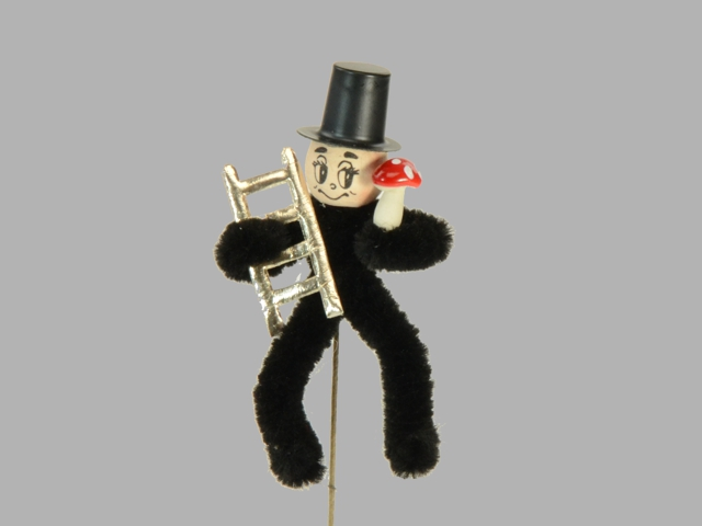 Chimney sweeper on the wire with mushroom and ladder, 7cm