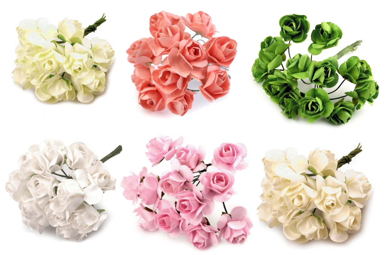 Roses on wire ∅ 20mm, 12 pcs., 70mm height