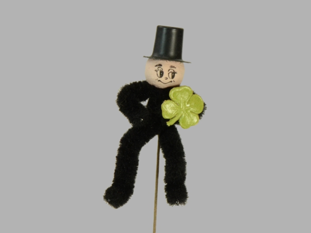 Chimney sweeper with four-leaf, 7cm, on wire
