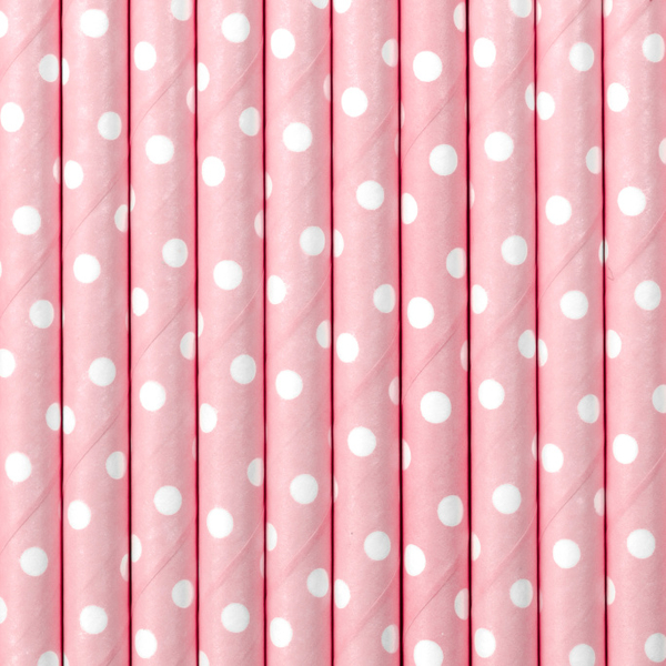 Paper straw 19,5cm, light pink, 10 pcs. in bag